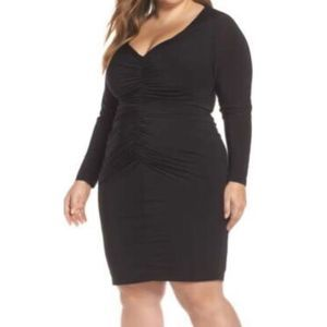 Eliza J long sleeve ruched body con dress 9395